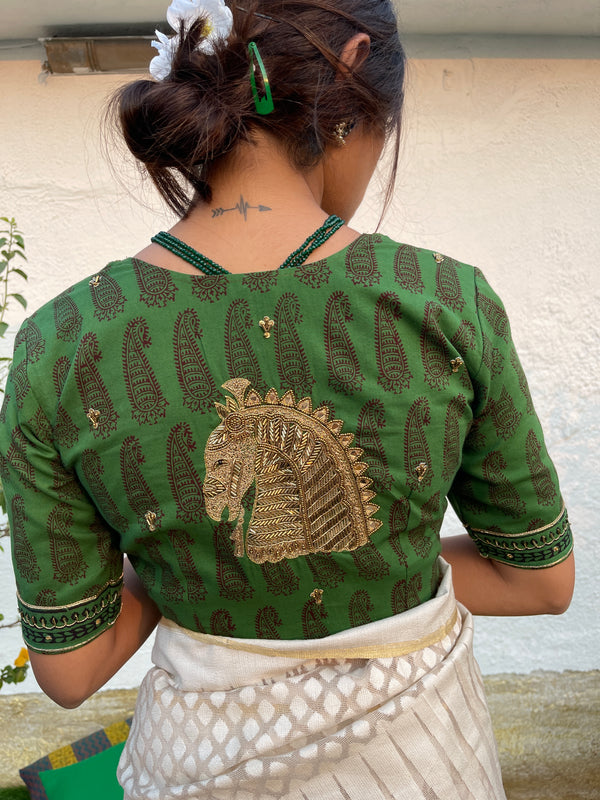 The Kala Ghoda Blouse - Green & Brown