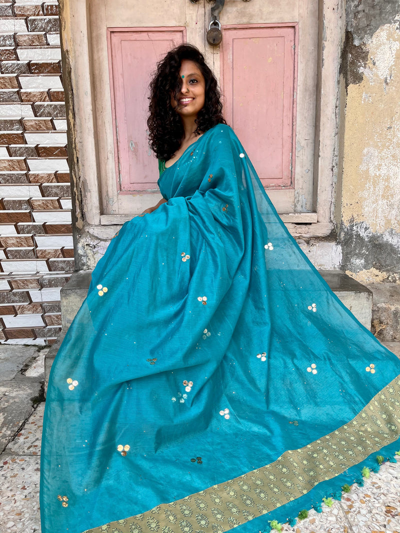 The Malika Saree - Turquoise Blue