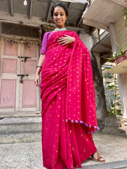 The Zari Butta Saree - Red