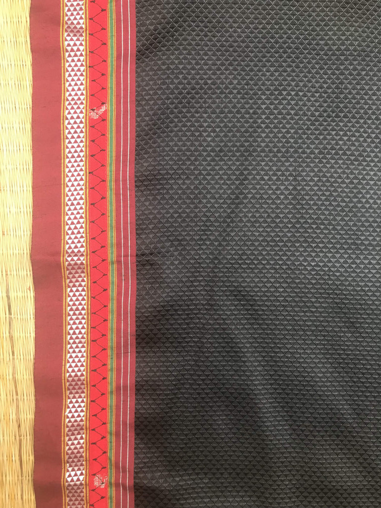 Kora White Black/Red Heart Saree (Handloom Cotton)