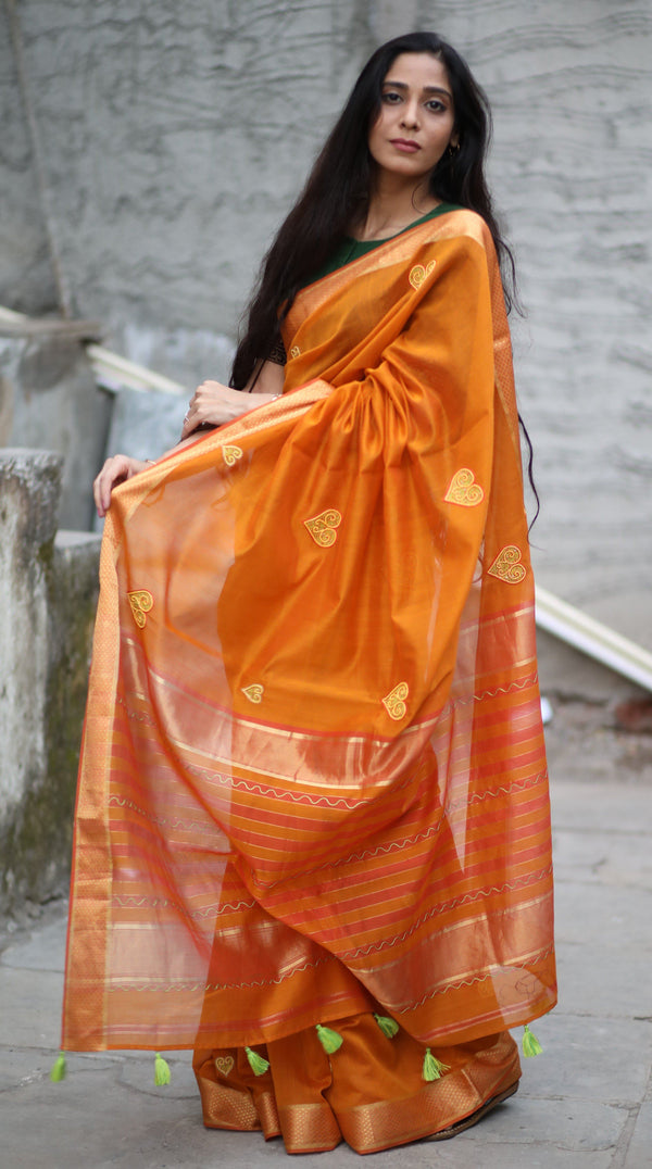 Heart Saree - Yellow Ochre Maheshwari