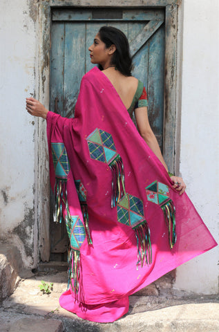 The Hot Pink QoH Kandeel Saree (Handloom Cotton)