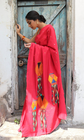 The Scarlet Red QoH Kandeel Saree (Handloom Cotton)