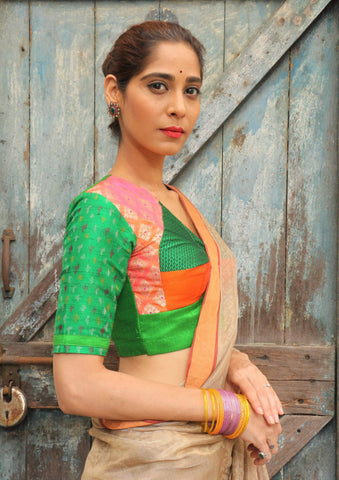 Bangle Green Orange Katori Blouse (Silk)