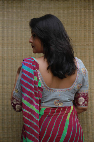 Grey/Magenta Pink Peacock Blouse (Handloom Cotton)