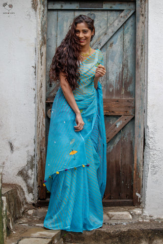 Monsoon Kota Cotton Leheriya Saree Turquoise Blue