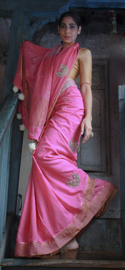 The Metallic Collection – Nath Saree - Bright Pink