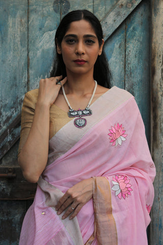 The Metallic Collection – Kamala (Lotus) Saree - Baby Pink