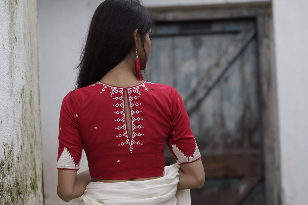 Red/White Temple Border Blouse (Handloom Cotton)