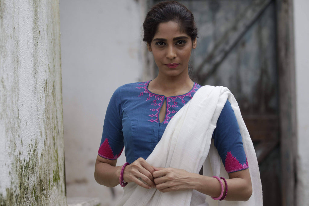 Blue/Pink Temple Border Blouse (Handloom Cotton)