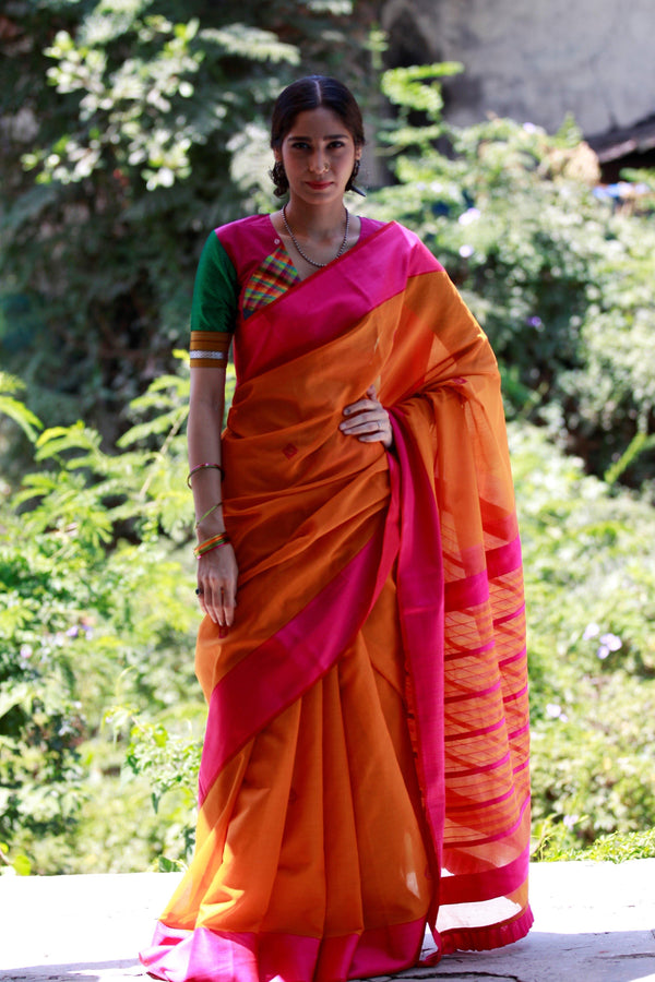 Colours of Maheshwar - Tangerine Orange and Hot Pink