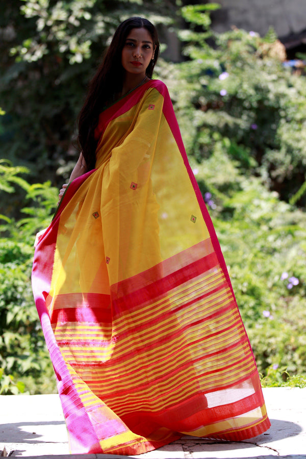 Colours of Maheshwar - Lemon Yellow and Hot Pink