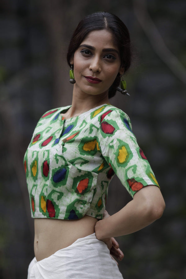 Sujata Blouse Leaf Green Batik