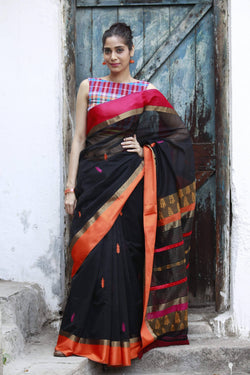 Colours of Maheshwar - Jet Black, Pink and Orange