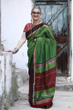 Colours of Maheshwar - Chutney Green and Black