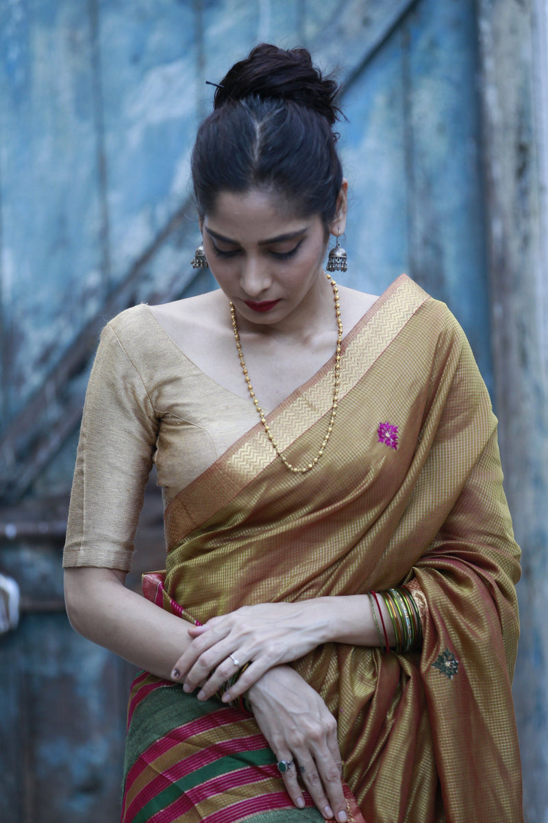 Colours of Maheshwar - Sand Brown and Gold Tissue Zari