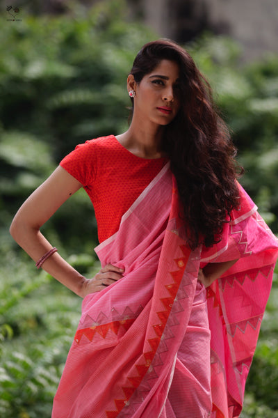Shades of Pink Orange Handloom Cotton Triangles Saree