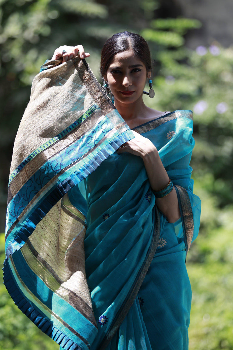 Colours of Maheshwar - Turquoise Blue