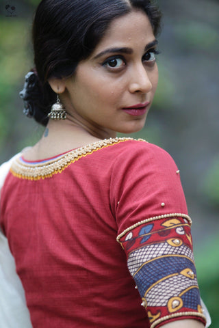The Roshan Blouse - Kalamkari (Madder Red)