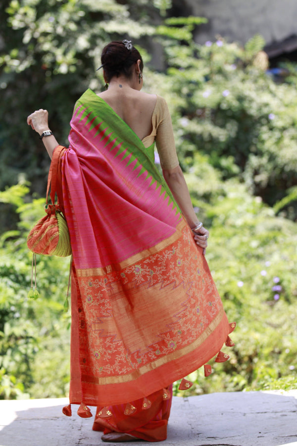 Accessorized Tussar Saree - Sorbet Pink/Green/Orange