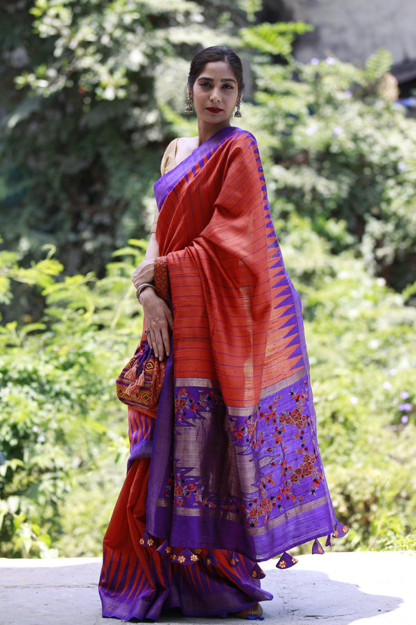 Accessorized Tussar Saree - Flame Red/Purple