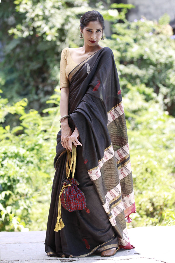 Accessorized Tussar Saree - Black/Red