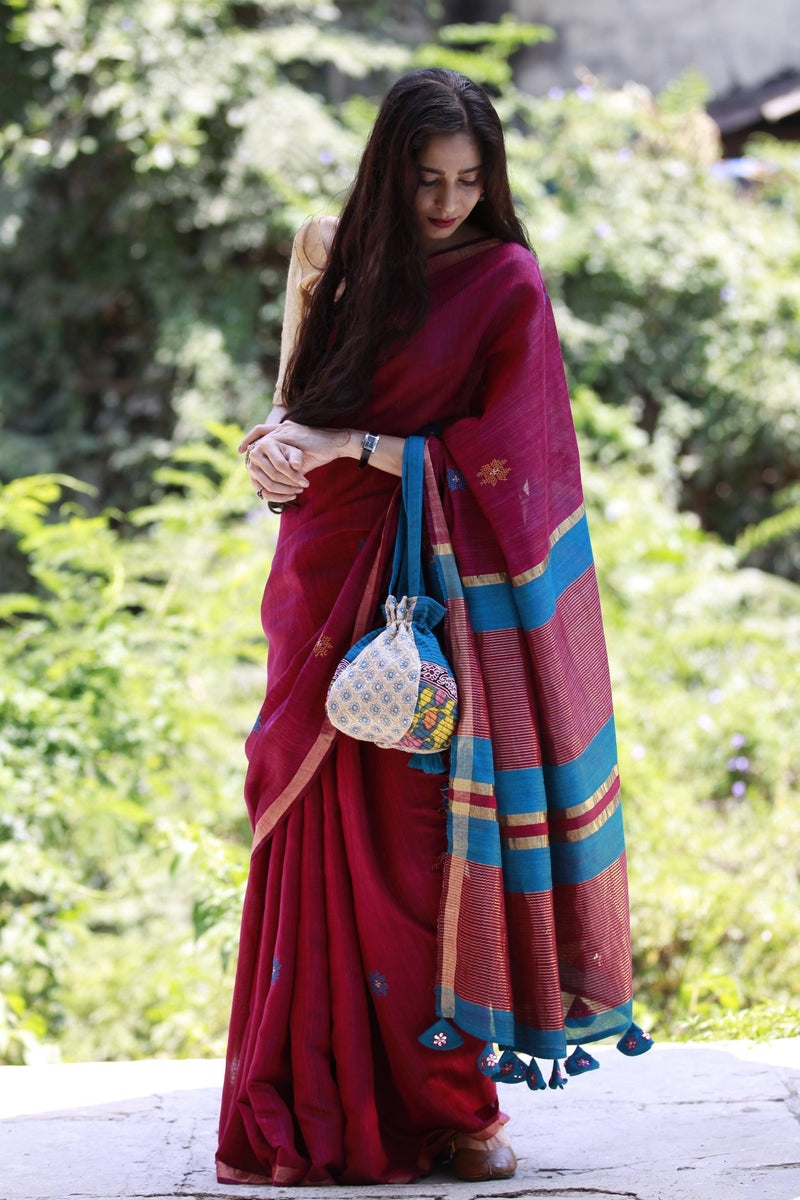Accessorized Tussar Saree - Wine Red/ Blue