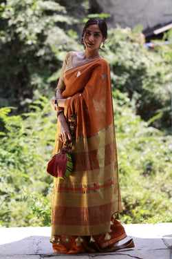 Accessorized Tussar Saree - Caramel Brown/Gold