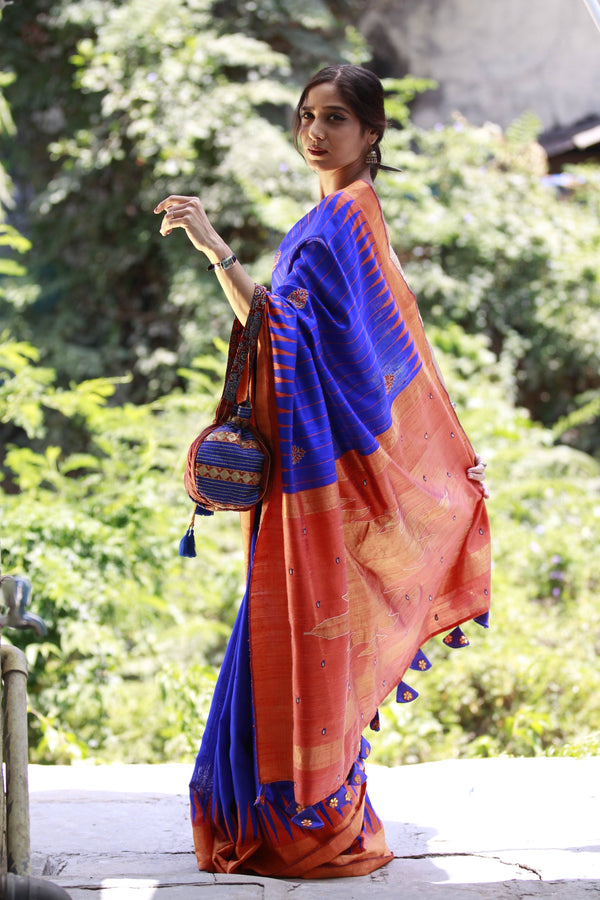 Accessorized Tussar Saree - Electric Blue/Rust Orange