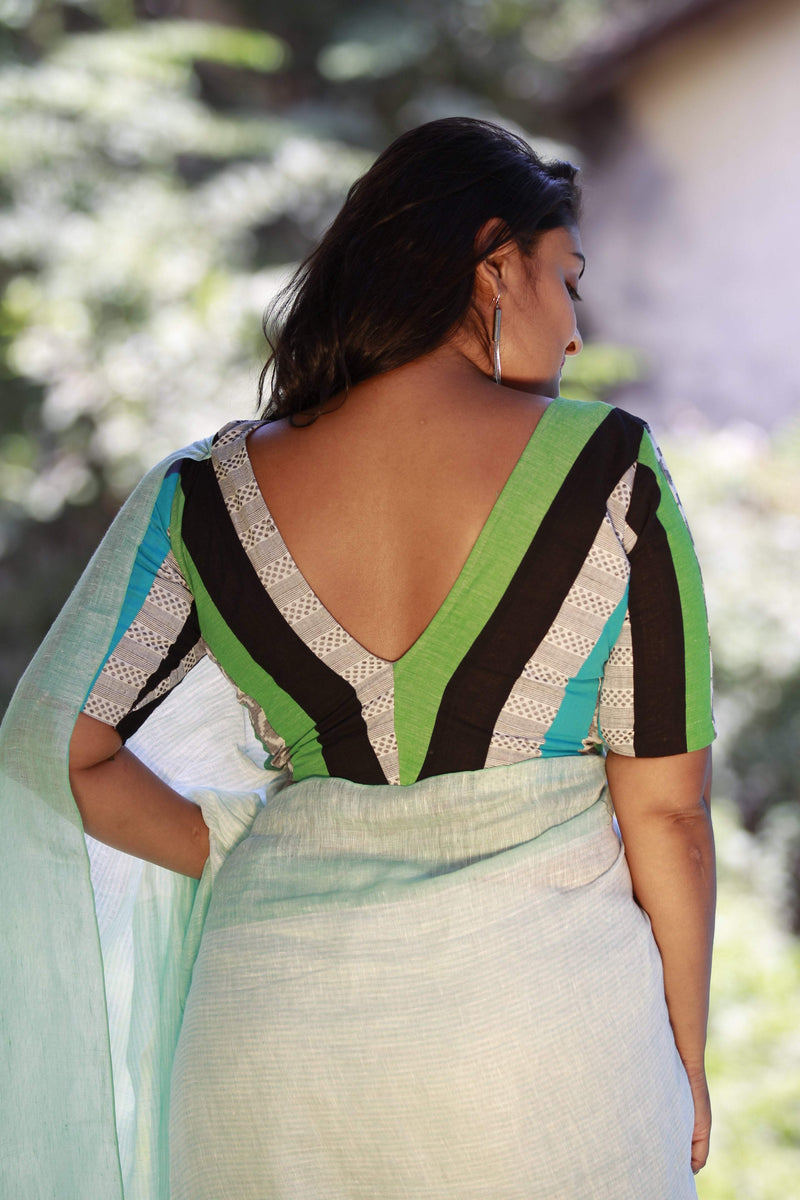 Vee Patchwork Vee Back - Blue Green Black