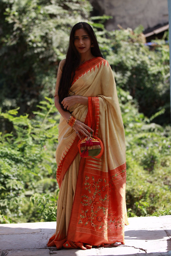 Accessorized Tussar Saree - Warm Vanilla/Orange