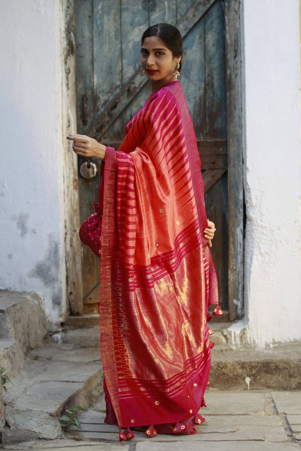 Accessorized Tussar Saree - Orange/Pink