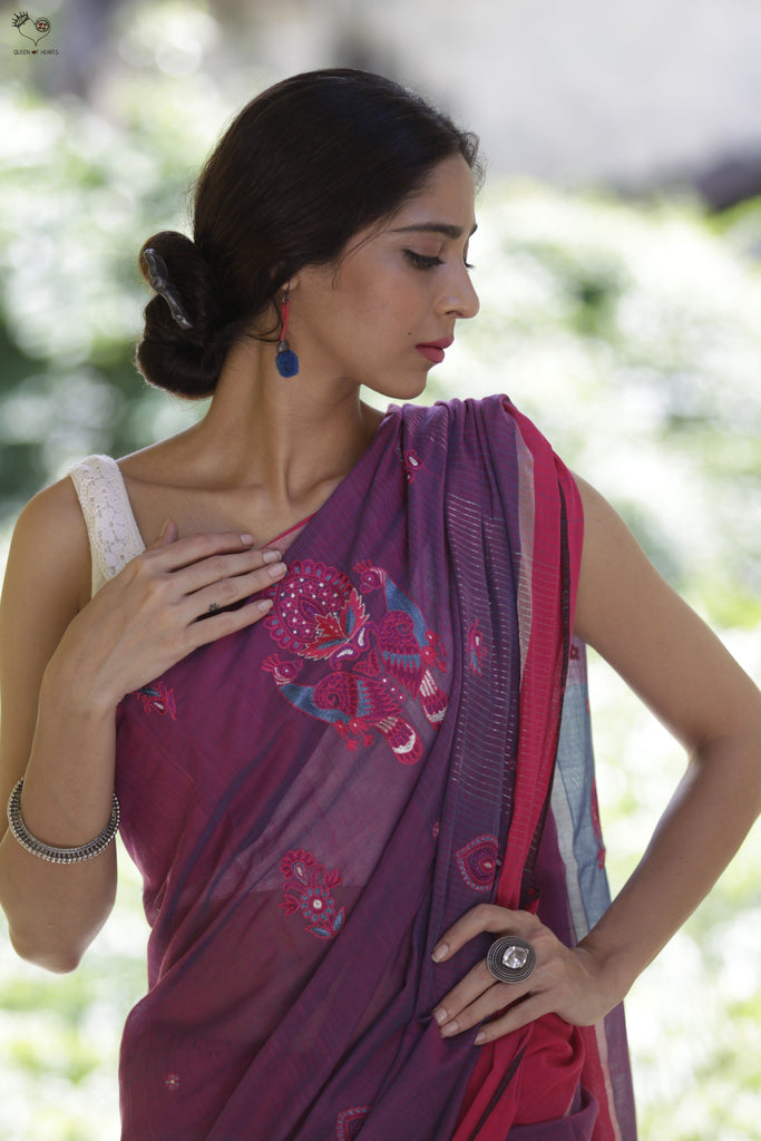 Purple Pink 2 Peacock Kutchh Motif Saree
