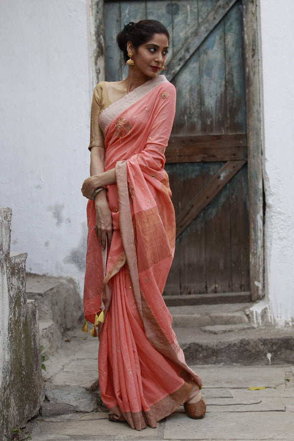 The Metallic Collection – Gandaberunda Saree - Peach