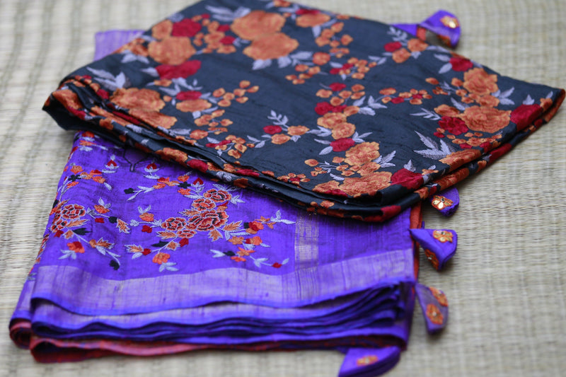 Accessorized Tussar Saree - Flame Red/Purple1