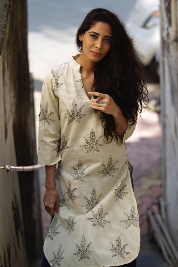Kora White Leaf Hand Block Printed Cotton Kurta