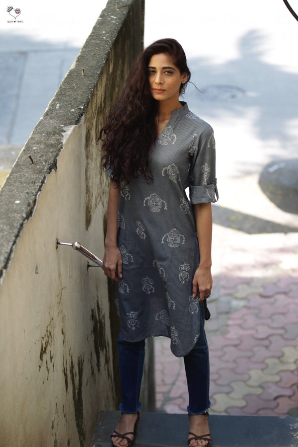 Grey Robots Hand Block Printed Cotton Kurta