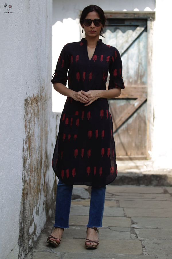 Black Red Ice Candy Hand Block Printed Cotton Kurta