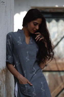 Grey Madaniyu Hand Block Printed Cotton Kurta