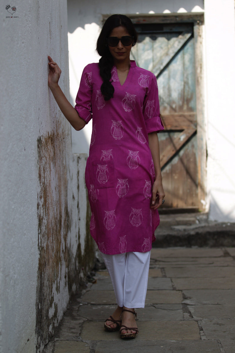 Pink Owl Hand Block Printed Cotton Kurta