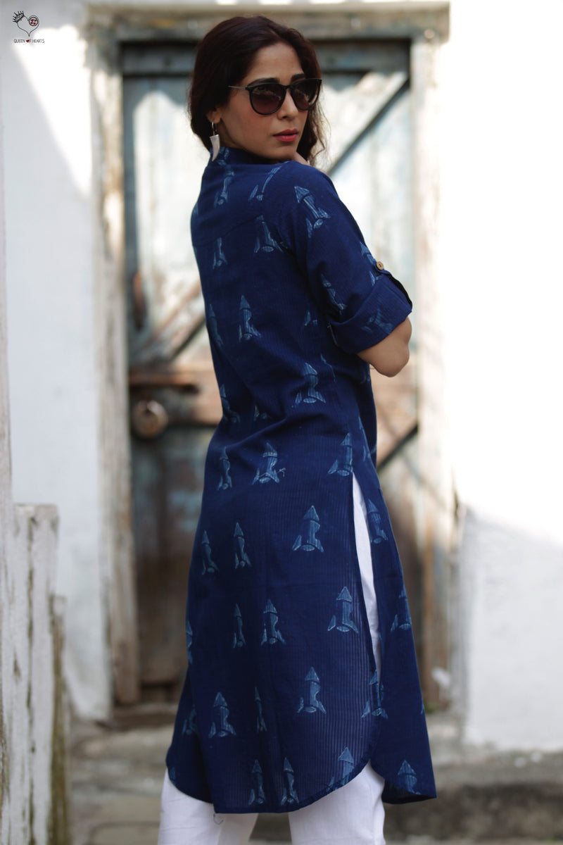 Indigo Rocket Hand Block Printed Cotton Kurta