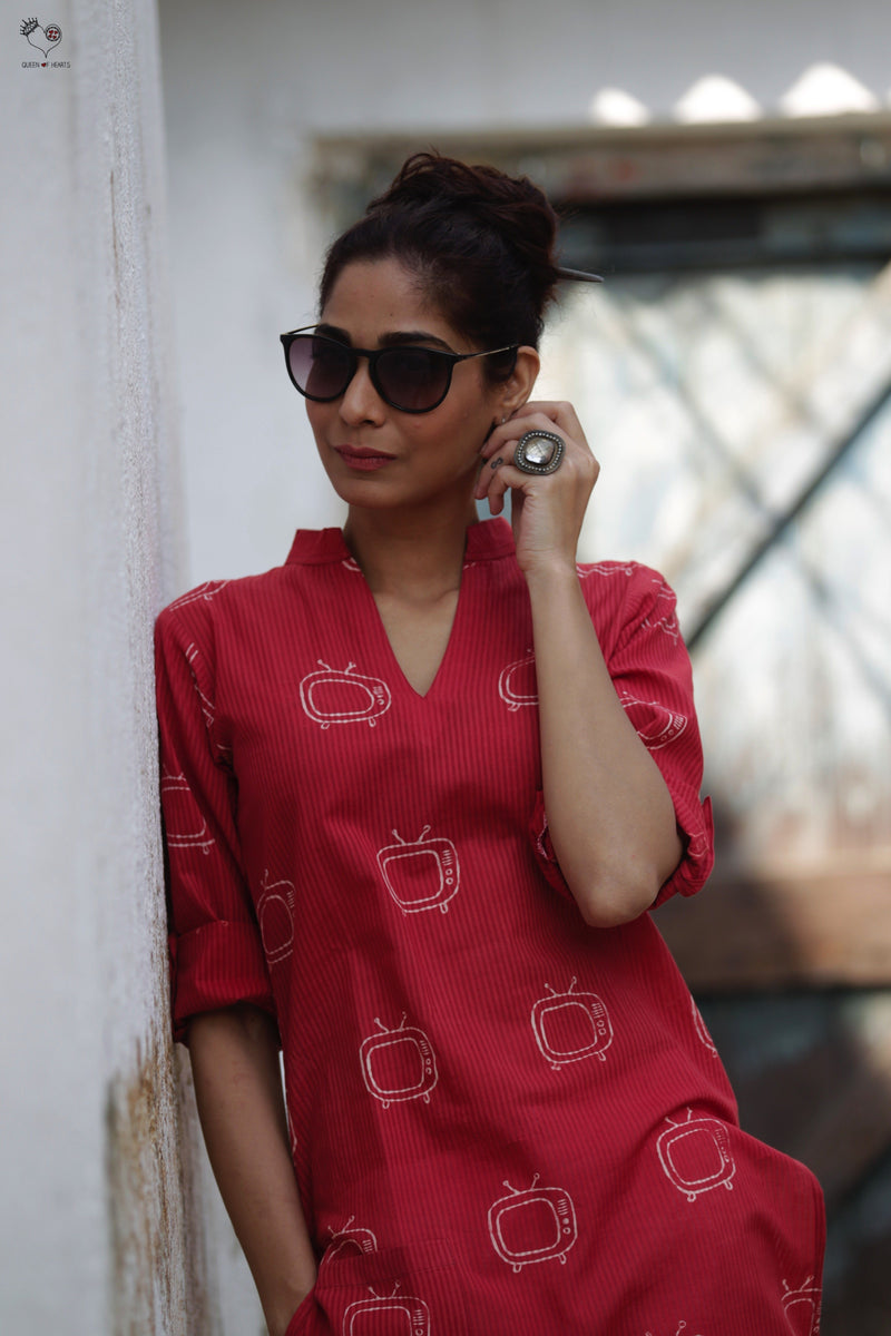 Red TV Hand Block Printed Cotton Kurta