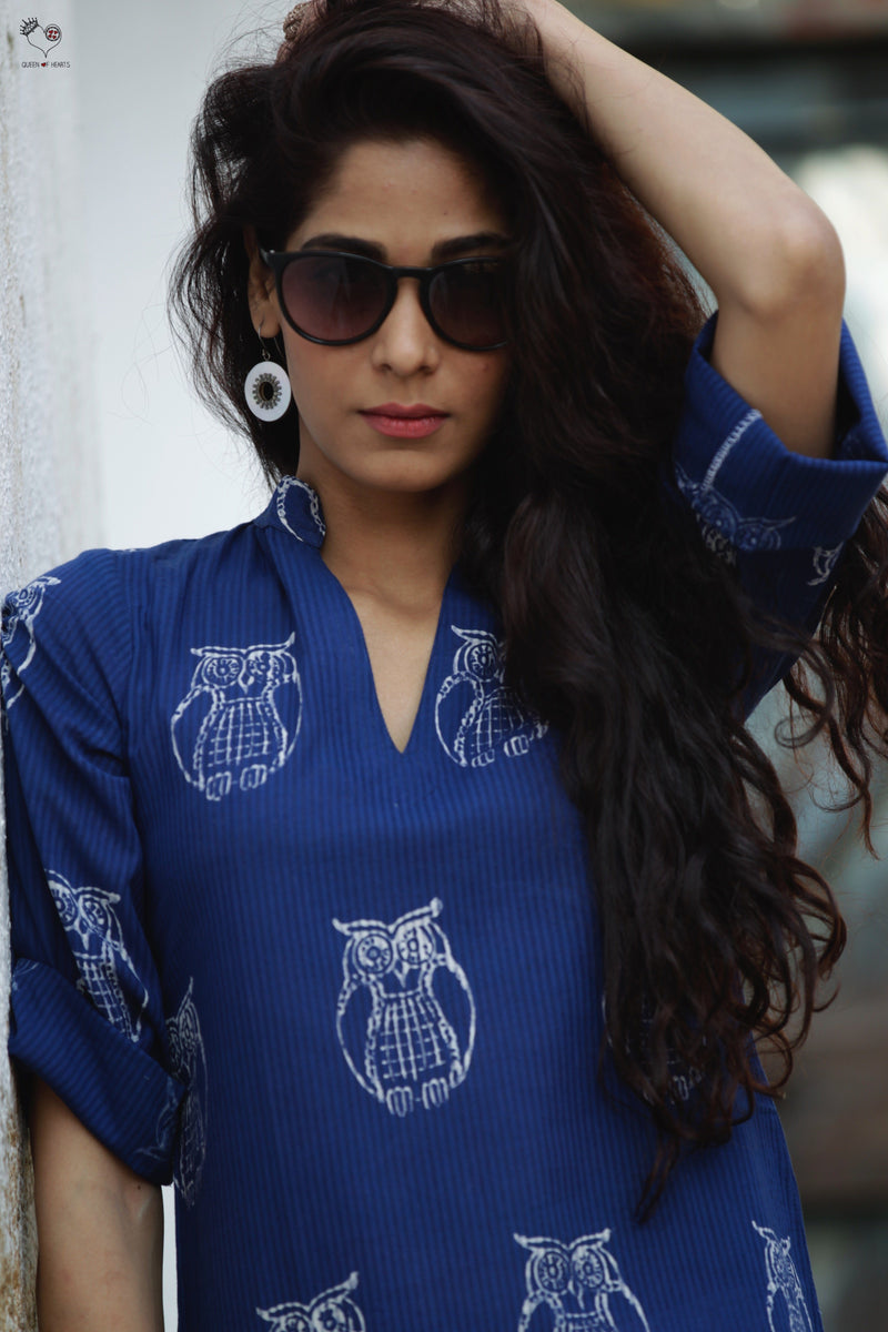 Indigo Owl Hand Block Printed Cotton Kurta