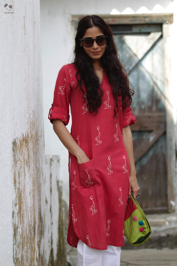 Red Madaniyu Hand Block Printed Cotton Kurta