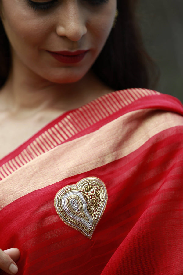 Heart Saree - Fire Engine Red and Gold Maheshwari