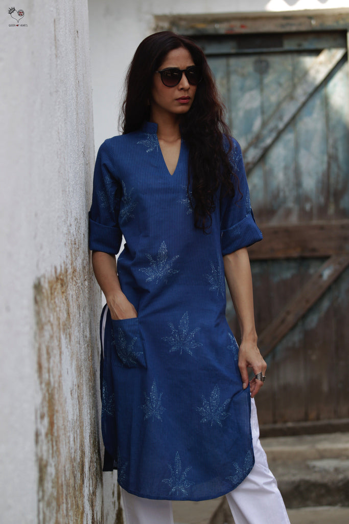 Indigo Leaf Hand Block Printed Cotton Kurta