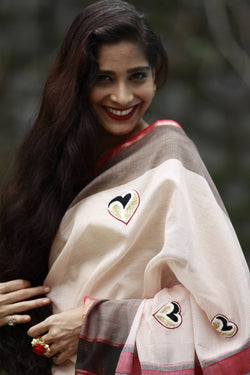 Heart Saree - Creamy White Black and Red Maheshwari