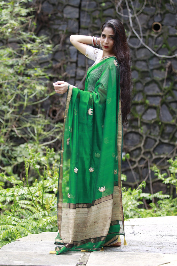 Chaand Taara Saree - Emerald Green