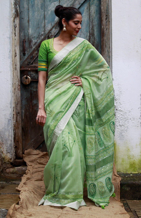 The Palm Tree Maheshwari Saree