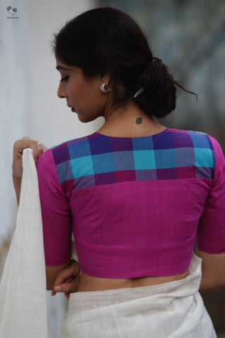 Purple Pink Checks Handloom Cotton Butterfly Blouse